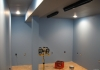 Tinted primer for the blue walls and black ceiling